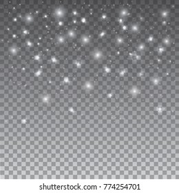 Stars and snow on grey background