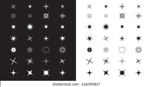 Stars Sparkles sign symbol set. Decoration element. Cute shape collection. Shining effect. Flat design. Black and white background. Vector illustration