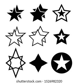Stars Sparkles sign symbol set. Cute shape collection. christmas sparkle geometric symbols and sheriff star