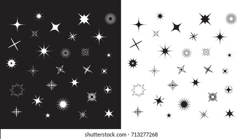 Stars Sparkles sign symbol set. Cute shape collection. Decoration element. Black and white background. Flat design. Vector illustration