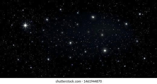 Stars and stardust in deep universe. Bright star in the dark space background. Vector illustration.