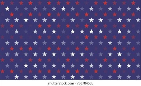 Stars and Stripes Abstract Seamless Pattern as USA Flag. American President Day border, United States patriotic background for Celebration American Holiday 4 of July, Vector Illustration