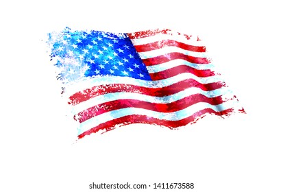 Stars & Stripes American Flag Painting - American Flag Painting as a layered vector file