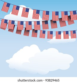 Stars and Stripes bunting on cloud background with space for your text. EPS10 vector format