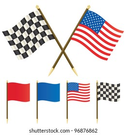 stars and stripes flag and winners checkered flag isolated on white