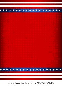 Stars and stripes grunge halftone USA 4th of july background / border