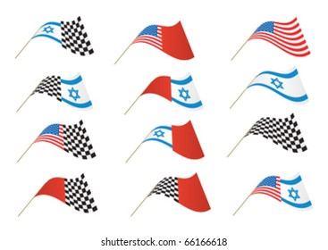 Stars and Stripes, Israel and Checkered Flag, editable illustration Vector.  Re-sizeable to any size.
