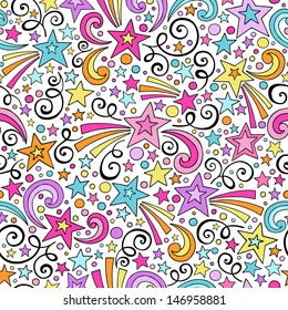 Stars and Swirls Seamless Pattern- Groovy Notebook Doodles Hand-Drawn Vector Illustration Background