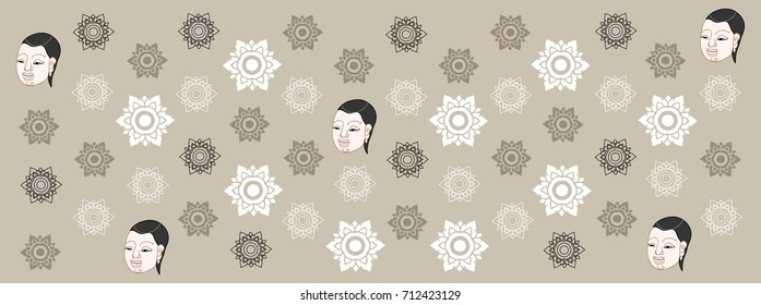 Stars in Thai style by hand drawn sketch illustration (vector)