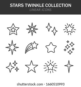 Stars twinkle collection linear icons in black on a white background