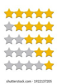 Stars yellow and gray isolated on white background. Rating for sites, hotels, travel packages, online stores, reviews. Vector graphics.