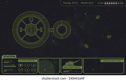 Starship base in the space - computer game screen, game interface and concept, 2d retro style sci-fi interlaced graphic illustration