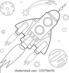 Starship in space coloring book for children.