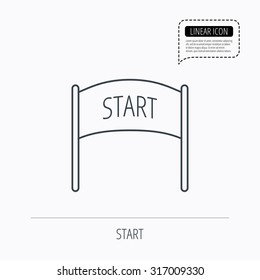Start banner icon. Marathon checkpoint sign. Linear outline icon. Speech bubble of dotted line. Vector