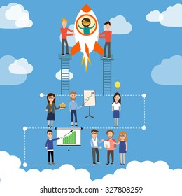 Start up business company with team to launch the rocket vector. illustration EPS10