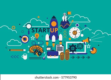 Start up business concept horizontal banner in flat line stile. Creative vector illustration with a lot of business icons. Can be used for web, graphic design and brochure.