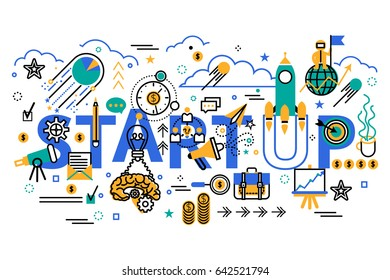 Start up business concept horizontal banner in flat line stile. Creative vector illustration with a lot of business icons. Can be used for web, graphic design and brochure