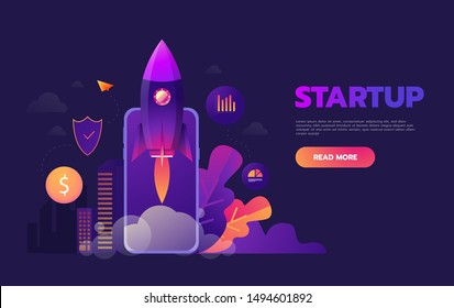 Start up business concept for mobile app development or other disruptive digital business ideas. Cartoon rocket launching from smart phone tablet. Startup.