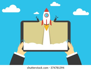 Start up business concept for mobile app development or other disruptive digital ideas.