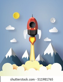 Start up business concept. rocket  flying on the air,paper art and  digital craft style.