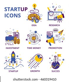 Start up business icon set isolated on white background.Suitable for info graphics, websites and banners. Vector illustrations, flat line design, creative concepts of startup, business.