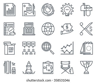 Start up business icon set suitable for info graphics, websites and print media. Black and white flat line icons.