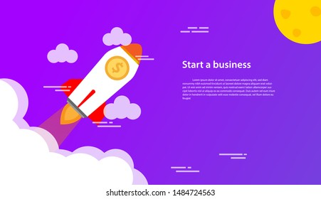 Start up a business. A mission to skyrocket business. Grow up money and business with rocket launch concept design. Vector Illustration Flat.