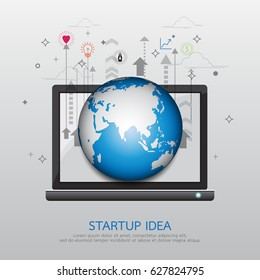 Start up business strategy idea concept.With global communication innovation technology abstract background.Vector illustration.