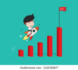 Start up business to success, Businessman on rocket flying on growing graph. Flat Vector Illustration