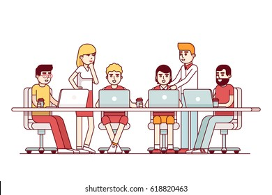 Start up business team working on laptop computers and talking together. Strategy planning meeting at big conference desk. Modern flat style thin line vector illustration isolated on white background.