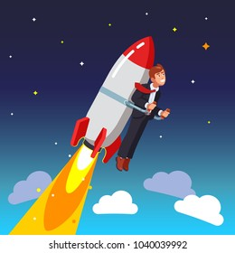 start up Businessman flies on a rocket into space, transparent background. Flat style vector illustration clipart.
