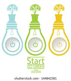 Start button. Green concepts. Lamp vector illustration.
