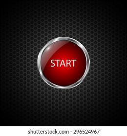 Start button on Carbon fiber background. Vector realistic metallic icon with gradient