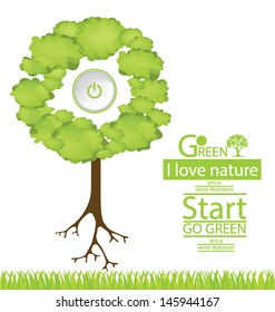Start button. Tree vector illustration
