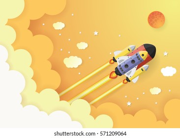 Start up concept. rocket flying on the sky,paper art