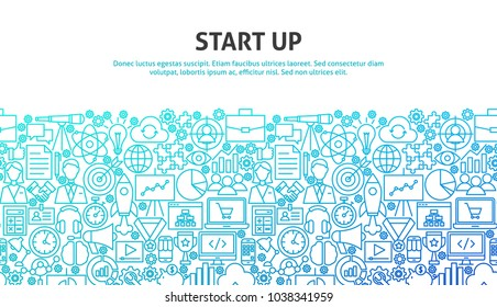 Start Up Concept. Vector Illustration of Line Web Design. Banner Template.