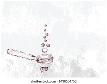 Start A Day with Coffee, Illustration Hand Drawn Sketch of A Cup of Coffee with Roasted Coffee Bean Roasted Coffee Beans in Metal Portafilter or Filter Holder of Espresso Machine.