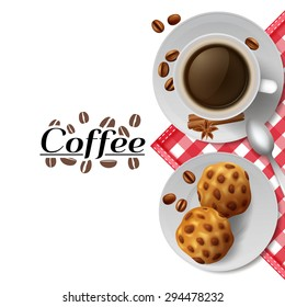 Start day with cup of black coffee with cookies  best energizer advertisement poster print abstract vector illustration