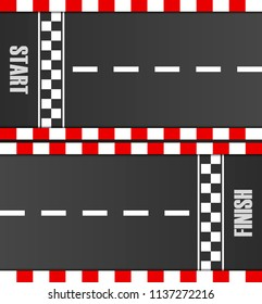 Start and finish line racing background top view. Grunge textured on the asphalt road. Abstract concept graphic element. Vector EPS10 illustration.