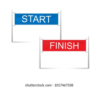 Start and finish line,banners vector. Sports competition illustration