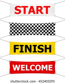 Start, finish and welcome textile banners set, vector illustration.  Flag sport race, competition starting and finishing, winner success illustration. Start and finish sport flags
