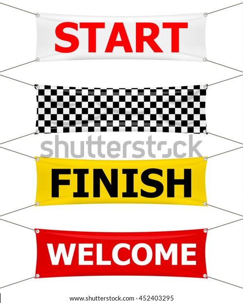 Start Finish Welcome Textile Banners Set Stock Vector