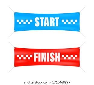 Start finish. Winner banner. Flat line cartoon vector illustration.