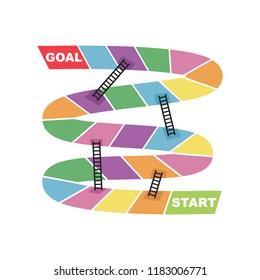 Start and Goal Target Destination with Ladder Shortcut Snake Board Game Vector