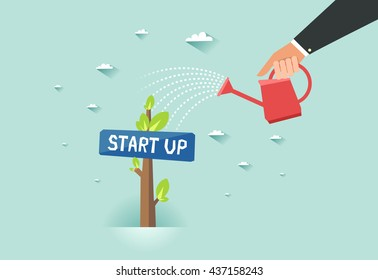 "Start up green business growth concept. Human hand with can watering a tree with ""Start up"" sign board. Vector colorful illustration in flat style"