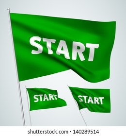 Start - green vector flags. A set of wavy flags created using gradient meshes. EPS 8 vector