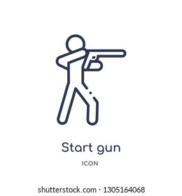 start gun icon from olympic games outline collection. Thin line start gun icon isolated on white background.