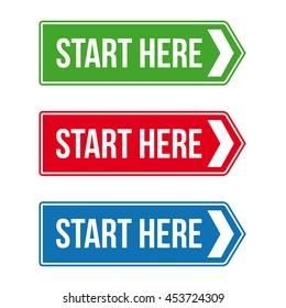 Start Here Road sign vector set