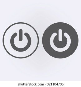 Start icon and power button in circle set . Vector illustration
