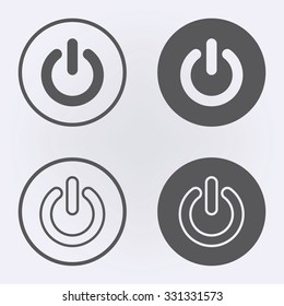 Start icon and power button set in circle . Vector illustration
